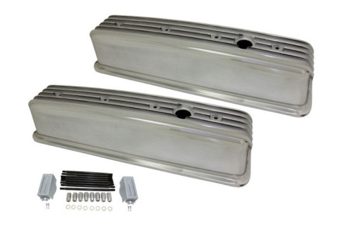 1987-99 SBC Chevy Polished Aluminum Finned Valve Covers with Hole Tall 305-350