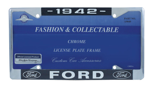 1942 Ford License Plate Frame Chrome Finish with Blue and White Script