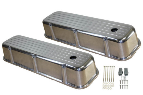 1965-95 BBC Chevy Polished Aluminum Ball-Milled Valve Covers w Hole Tall 396-502