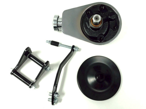 Chrome Saginaw Power Steering Pump w/ Black Bracket & Pulley Kit, Fits Chevy SBC