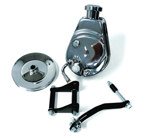 SBC Chevy Chrome Saginaw Style Power Steering Pump w/ Pulley & Black Bracket