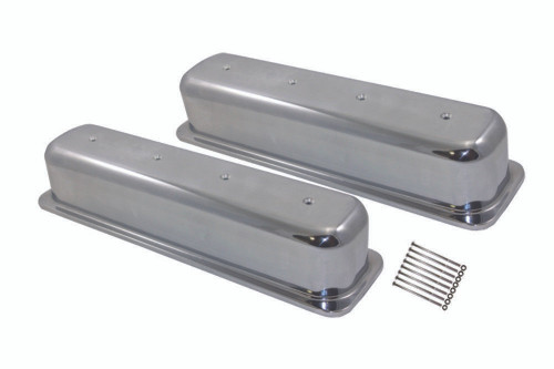 1987-97 SBC Chevy 5.0-5.7 Polished Aluminum Smooth Valve Covers W/O Hole Tall