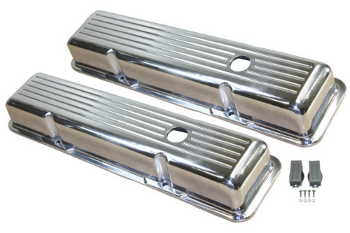 1958-86 SBC Chevy Polished Aluminum B/Milled Valve Covers W/Hole Short 283-400