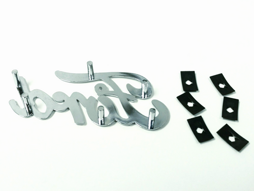 Chrome Classic Emblem/Script Stud Mount with Mounting Clips Compatible with Ford
