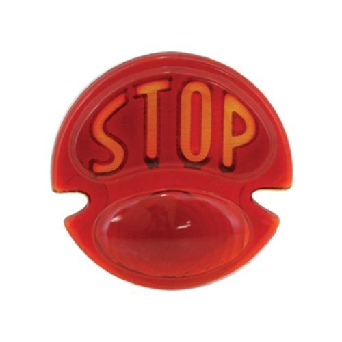 "1928-31 Ford Glass Red Tail Light Lens with ""STOP"" Script"