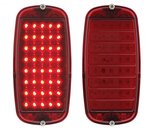 (2) 1960-66 Chevy Pickup Fleetside Tail Light Assembly, Red LED / Red Lens, Pair