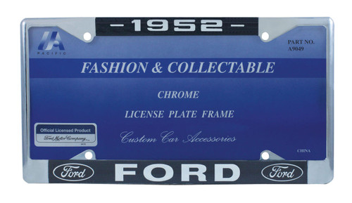1952 Ford License Plate Frame Chrome Finish with Blue and White Script
