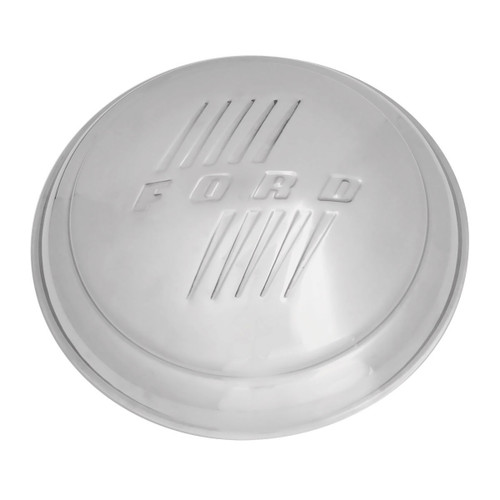 "1946 Ford Hub Cap With Block Letters, Stainless, 8 1/8"" Dia - OER"