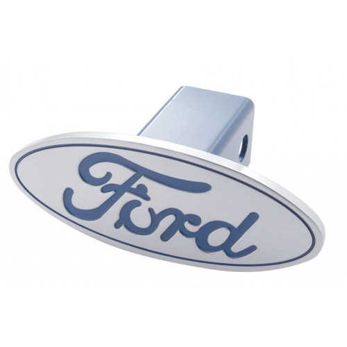 Billet Aluminum Oval Logo Trailer Hitch Cover, Blue, Fits Ford Pick Up Truck