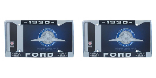 1930 Ford License Plate Frame Chrome Finish with Blue and White Script, Set of 2