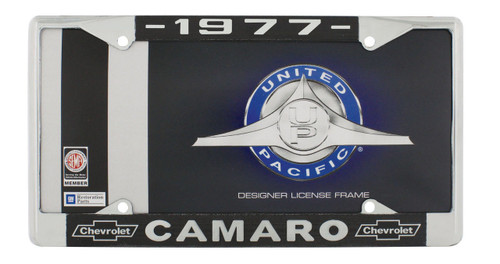 """1977 Chevy """"Camaro"""" Chrome License Plate Frame with Year and Chevrolet Bowtie"""