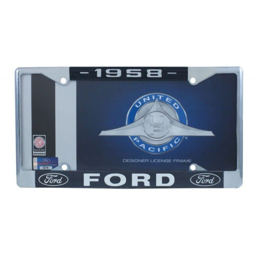 1958 Ford License Plate Frame Chrome Finish with Blue and White Script