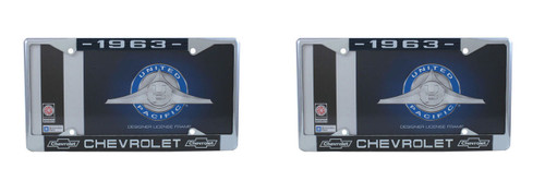 1963 Chevy Chrome License Plate Frame with Bowtie Blue / White Script, Set of 2