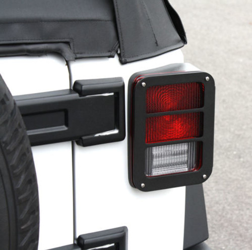 Black Powder Coated Billet Tail Light Armor, Pr, Compatible with  Jeep Wrangler JK 2007-15