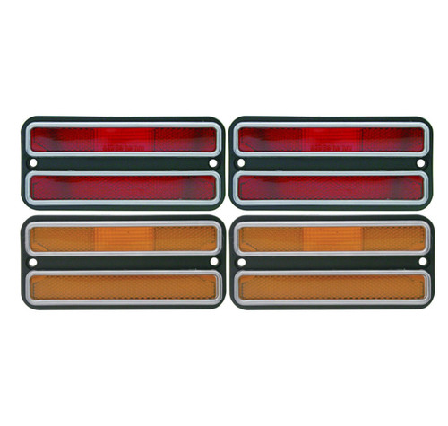 (4) 1968 - 1972 Chevy Truck  Clearance Side Marker Light Housings Set, Red Amber