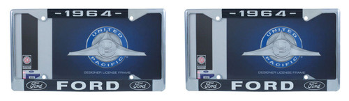 1964 Ford License Plate Frame Chrome Finish with Blue and White Script, Set of 2