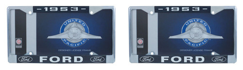 1953 Ford License Plate Frame Chrome Finish with Blue and White Script, Set of 2
