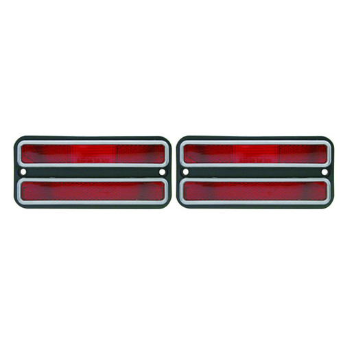(2) Red Clearance Side Marker Light Housings, Fits Chevy Truck 1968 - 1972