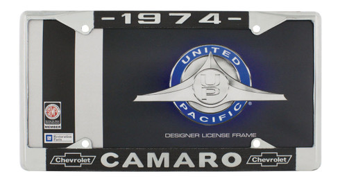 """1974 Chevy """"Camaro"""" Chrome License Plate Frame with Year and Chevrolet Bowtie"""