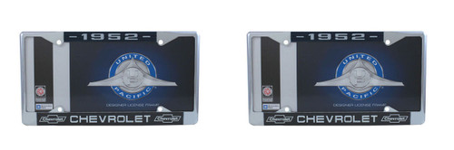 1952 Chevy Chrome License Plate Frame with Bowtie Blue / White Script, Set of 2