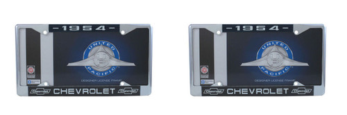 1954 Chevy Chrome License Plate Frame with Bowtie Blue / White Script, Set of 2