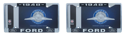 1948 Ford License Plate Frame Chrome Finish with Blue and White Script, Set of 2