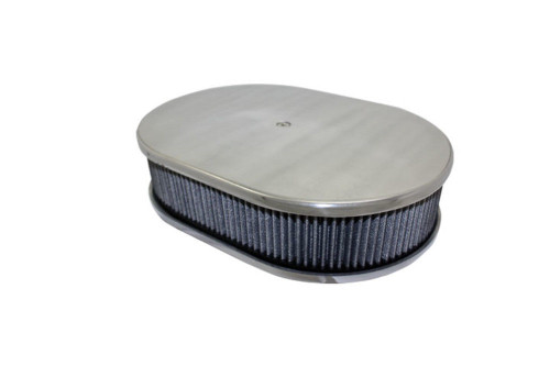 "12"" Smooth Polished Aluminum Oval Air Cleaner w/ Washable Filter Chevy Ford V8"