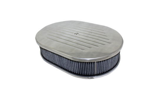 "12"" Ball Milled Polished Aluminum Oval Air Cleaner w/ Washable Filter Chevy Ford"
