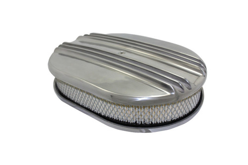 "12"" Classic Finned Polished Aluminum Oval Air Cleaner w/ Filter Chevy Ford V8"
