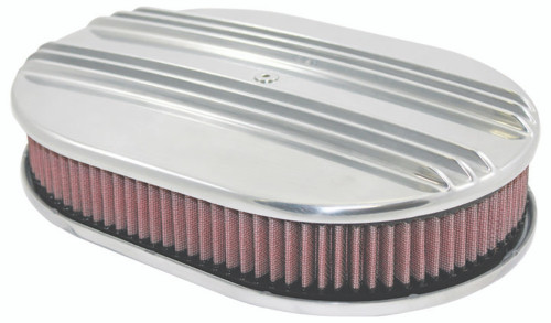 """12"""" Classic Finned Polished Aluminum Oval Air Cleaner w/ Washable Filter Chevy F"""