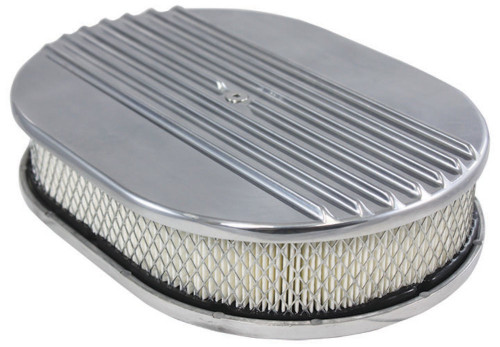"""12"""" Half Finned Polished Aluminum Oval Air Cleaner w/ Filter Chevy Ford V8"""