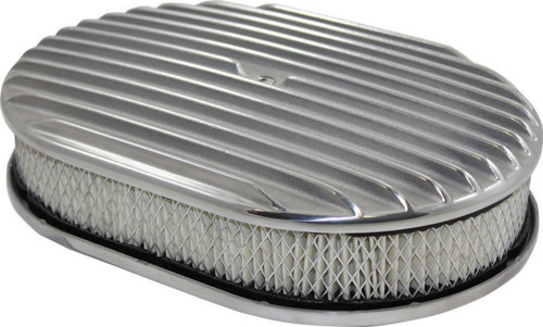 "12"" Full Finned Polished Aluminum Oval Air Cleaner w/ Filter Chevy Ford V8"