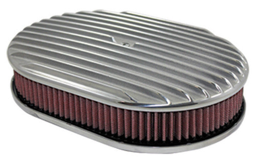 """12"""" Full Finned Polished Aluminum Oval Air Cleaner w/ Washable Filter Chevy Ford"""