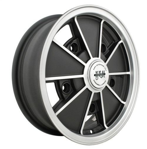 "00-9675-0  EMPI BRM STYLE WHEEL, 5""X15"", MATTE BLACK W/MATTE SILVER LIP, 5X205MM BOLT PATTERN, EACH"