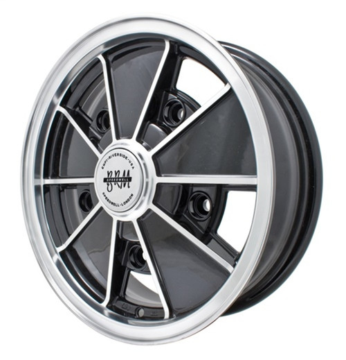 "00-9676-0  EMPI BRM STYLE WHEEL, 5""X15"", GLOSS BLACK W/POLISHED LIP & SPOKE EDGES, 5X205MM BOLT PATTERN, EACH"