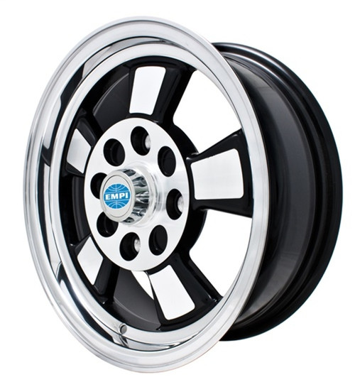 "00-9732-0  EMPI RIVERA STYLE WHEEL, 5-1/2""X15"", GLOSS BLACK W/POLISHED LIP, 4X130MM BOLT PATTERN, EACH"