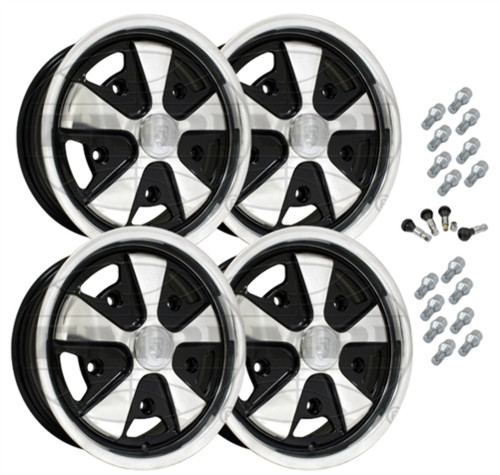 10-1108-1110 EMPI 911 STYLE WHEEL PACKAGE, 5-LUG VW BUG, BUS, GHIA, TYPE 3,  4PC SET, BLACK, 15 X 4-1/2 & 15 X 5-1/2, 5 ON 205MM