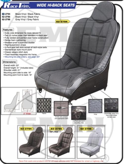 62-2794-0 RACETRIM HB SEAT,BLK/BLK,EA