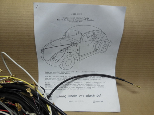 1958-1963 vw volkswagen bus type 2 wiring works main wire harness  kit-usa