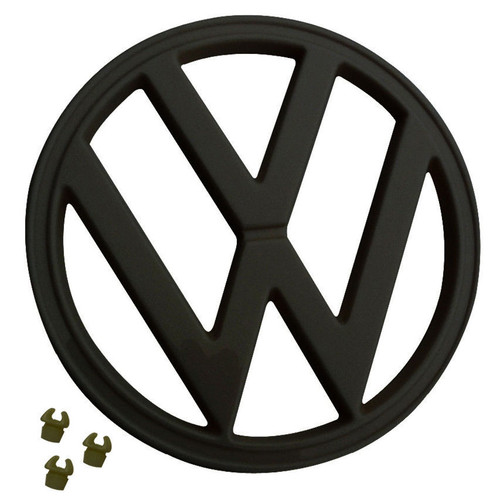 """FRONT EMBLEM, BLACK, WITH CLIPS, 72-79 VW TYPE 2 BUS, 7"""" (182MM) 211-853-601EB"""