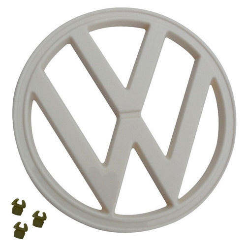 """Front Emblem with Clips, Off-White, Fits VW 1972-79 Type 2 Bus, 7"""" (182mm) 211-853-601E"""