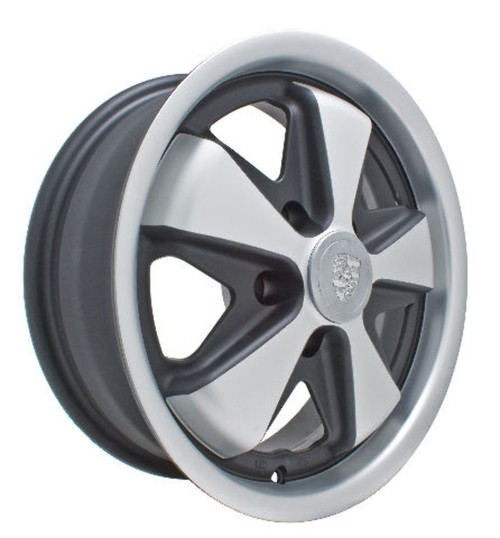911 ALLOY WHEELS, Gloss Black w/ Polished Lip, 15x5.5 5x112 , Fits VW LATE Bus