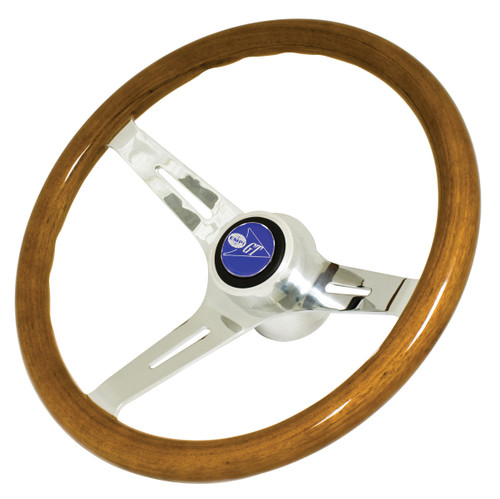 """Classic Wood Steering Wheel, 380mm/31mm Grip, 3"""" Dish, Compatible with VW Bug Ghia"""