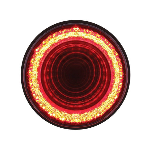 "24 LED 4"" Round S/T/T & P/T/C ""Mirage"" Light - Red LED/Clear Lens"