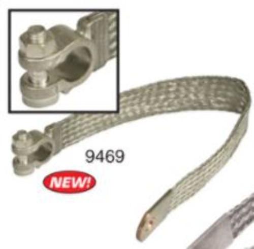 """EMPI VW Bug Buggy 14"""" Braided Battery Cable Chassis Ground Strap - 9469"""