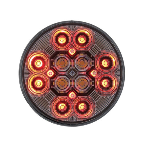 """4"""" Round Combo Light with 12 LED S/T/T Light & 16 LED Back-Up Light -Clear Lens"""