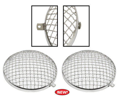 Stainless Steel Headlight Stone Guard, Pair ~ VW T-1 67-79, T-2 68-79, T-3 64-73