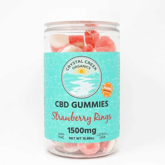 Nano-Infused CBD Gummies Strawberry Rings Crystal Creek Organics