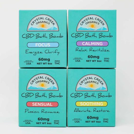 Calming Full Spectrum CBD Bath Bomb with 60 mg CBD Crystal Creek Organics
