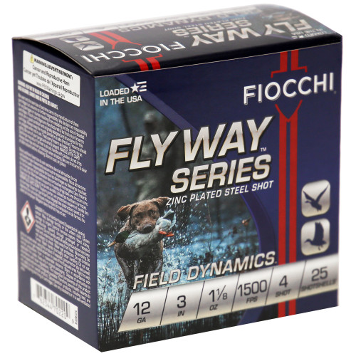 """Fiocchi FW Steel 12GA, 3"""", #4, 25 Rd box"""